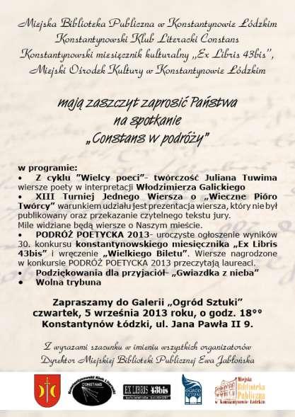 Konstantynowscy Poeci I Ich Przyjaciele Constans W Podróży