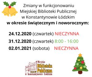 Zmiany w funkcjonowaniu pracy Biblioteki w okresie świątecznym i noworocznym